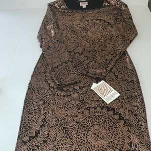 NWT Stunning Copper Metallic Stretch Dress LulaRoe